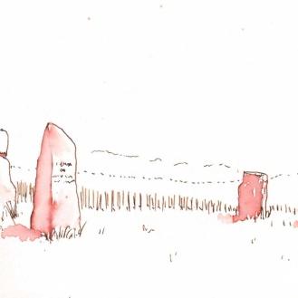 Menhirs de Concise, encre et lavis