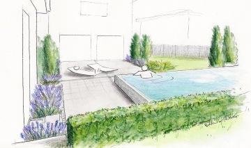 Perspective d'une terrasse avec piscine